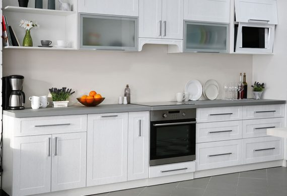Kitchen units in white grey and silver