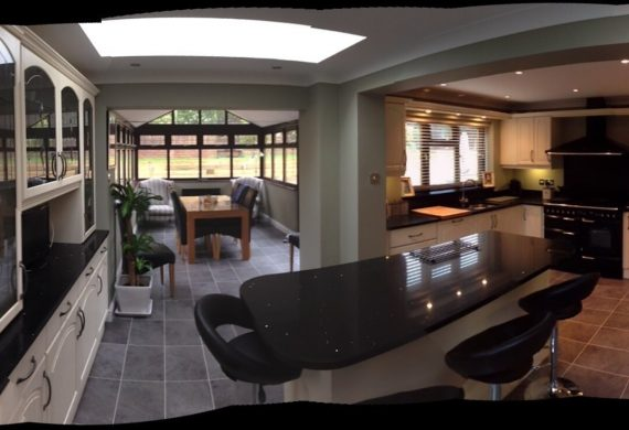 Panoramic view of a kitchen in Wolverhampton