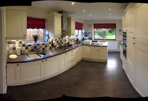Panoramic view of new kitchen in Wolverhampton